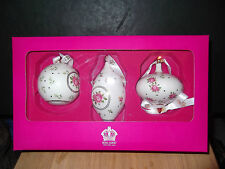 "ROYAL ALBERT SET OF 3 CHRISTMAS TREE HANGING BAUBLES ""PINK ROSES"" NEW BOXED"