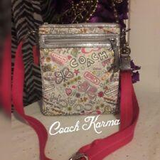 Coach Poppy Daisy Butterfly Silver Bandana Crossbody Bag Swing-pack Shoulder