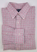 LANDS End LINEN Shirt 15 1/2 33 MENS Pink CHECKED Baird MCNUTT Size MULTICOLOR**