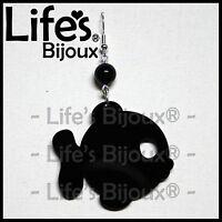 Orecchino Ciondolo Pesce Mare Pesciolino Donna Plexiglass Pendente Nero 4 cm