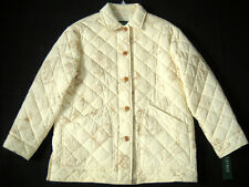 NWT $198 Womens Ralph Lauren Cream Equestrian Derby Quilted Jacket Med M