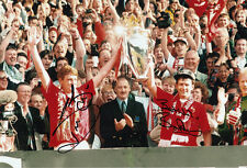 Manchester United Hand Signed Steve Bruce & Bryan Robson Photo 12x8 4.