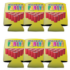 """Set of 6 Red Solo Cup """"Let Have a Party"""" Themed Koozies"""