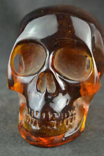 Collectible Decorate Handwork Old Burmese amber carving skull statue