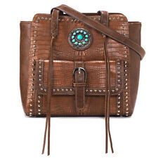 Blazin Roxx Western Womens Handbag Tote Croc Turquoise Concho Brown N7590002