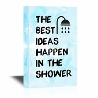 wall26 - Bathroom Canvas Wall Art - The Best Ideas Happen in the Shower - 16x24