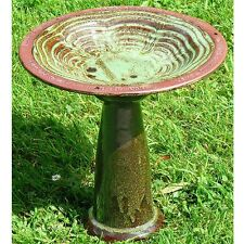Echoes Glazed Ceramic Free Standing Bird Bath With Stand Outdoor Garden Ornament