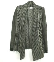 Kim Rogers Womens Black Gray Open Front Long Sleeve Knit Cardigan Sweater Large