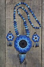 Earring Set Mexican Folk Art Bohemian Huichol Beaded Teal Blue Flower Necklace &