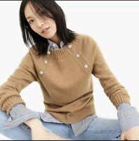 J Crew Women's Medium Brown Tan crewneck sweater with jeweled buttons Wool Blend