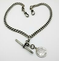 Antique Double Albert Sterling Silver Albert Watch Chain & Coin Fob C 1913.