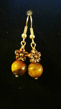 Fashion Earrings Natural Tiger Eye Ball with bronze flower and silver hook
