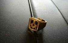More details for masonic square & compasses flip/reversable ring uk ring size t-1/2 gold plated