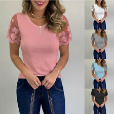 Women Short Sleeve Casual T Shirt Lace Solid Loose Summer Crew Neck Tops Blouse