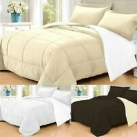 3 PC Goose Down Alternative  Polyester Filled Reversible Comforter Sham New