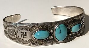 VINTAGE 1930'S NAVAJO INDIAN SILVER TURQUOISE WHIRLING LOGS CUFF BRACELET*