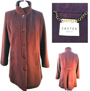 Eastex Overcoat Size 10 Red Wool Cashmere Mid Length Funnel neck Button lined