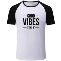 New Casual T-Shirts Graphic Print GOOD VIBES ONLY Tops Tee Shirts For Mens Boys