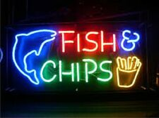 "New Fish Cips Neon Light Sign 24""x20"" Lamp Poster Real Glass Beer Bar"