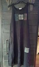 JULI ANNE Art Wear Dress Natural Flax Linen Painted Signed Medium