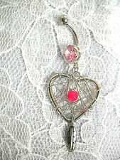 ON SALE SPIRIT HEART DREAM CATCHER PINK BEAD & DANGLING FEATHER 14g BELLY RING