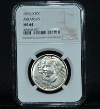 1936-D ARKANSAS COMMEMORATIVE 50C ✪ NGC MS-64 ✪ CHOICE UNCIRCULATED ◢TRUSTED◣