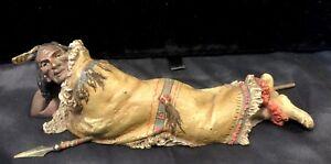Original Franz Bergman Cold Painted Austrian Bronze 'Indian in Repose' c 1910
