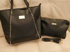 NEW WT BLACK EXTRA LARGE BEBE LEATHER PURSE JANE STUDDED ZIP TOTE W INSERT BAG