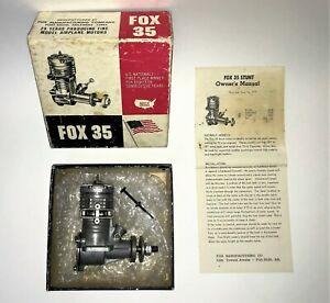 Vintage FOX 35 Control Line Stunt Nitro Model Airplane engine 5.73cc N.O.S.