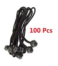 "(100) 6"" Black Ball Bungee Bungie Cord Heavy Duty Canopy Tarp Tie Downs"