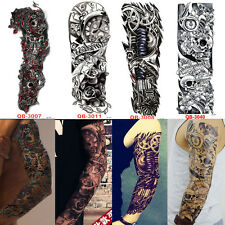 Full Arm Sleeve Temporary Tattoo Skull And Clock Tribal Polynesian Body Sticker
