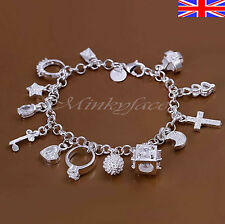 """Silver 925 Sterling Charm Bracelet Crystal Charms Chain Link 8"""" Free Gift Bag"""