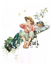 "NORMAN ROCKWELL ""GRANDPA & ME - SUMMER"" 4 Seasons Print Boy & Dog"