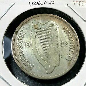 1928 IRELAND SILVER HORSE 1/2 CROWN NICE COIN