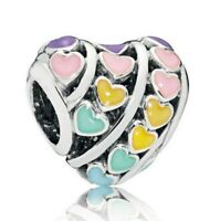 Mixed Enamel Rainbow Hearts Charm Bead  fit Original Bracelets DIY