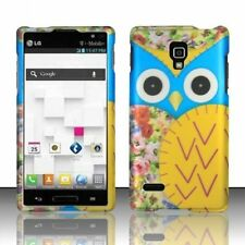 For LG Optimus L9 P769 Blue & Yellow Cute Owl Rubberized Hard Snap On Case Cover