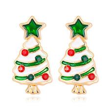 Rhinestone Star Christmas Tree Gold Plated Woman Earring Holiday Celebration