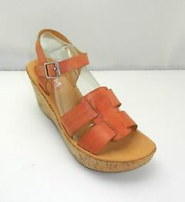 Korks by Kork-Ease Tinted Peach Leather Strappy Wedge Heel Ankle Strap Sandals-9