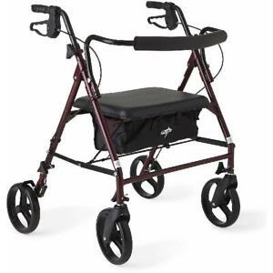 Folding Rolling Walker Rollator 500lb Weight Capacity Heavy Duty Extra Wide Seat
