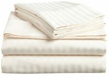 Cream Striped King 4 Piece Bed Sheet Set 1000 Thread Count 100% Egyptian Cotton