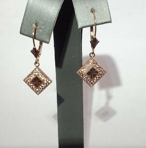 DIAMOND SHAPE 14K ROSE GOLD DANGLE EARRINGS - ITEM # 1001720