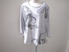 NWT's Alfred Dunner beautiful gray and silver paisley 3/4 sleeve top   1X