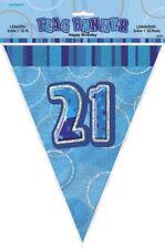 21st Blue Glitz Bunting - 12ft Long - Plastic Party Pennants Flag Banner