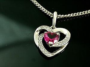 925 Silberkette mit Herz Anhänger   Größe 14 mm x 12 mm mit Rubin