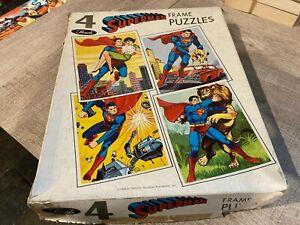 Superman Vintage Sands Frame Puzzles x4 1966 EXC
