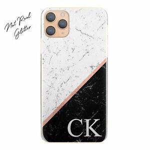 Personalised Initial Phone Case, Black Marble Hard Cover For Huawei P Models