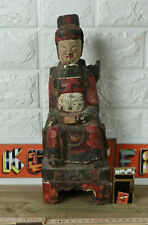 Emperor Seated Asian Antique Wood Temple Throne Japan Japanese Wooden Carving