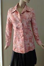 Arden B Pink Metallic Sheen Floral Pattern Long Trench Coat Jacket Size M