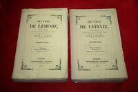 OEUVRES DE LEIBNIZ DEUX VOLUMES EDITIONS CHARPENTIER 1842