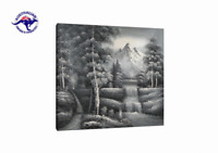 CANVAS WALL ART BLACK AND WHITE OIL PAINTING HAND PAINTED CONTEMPORARY LANDSCAPE
